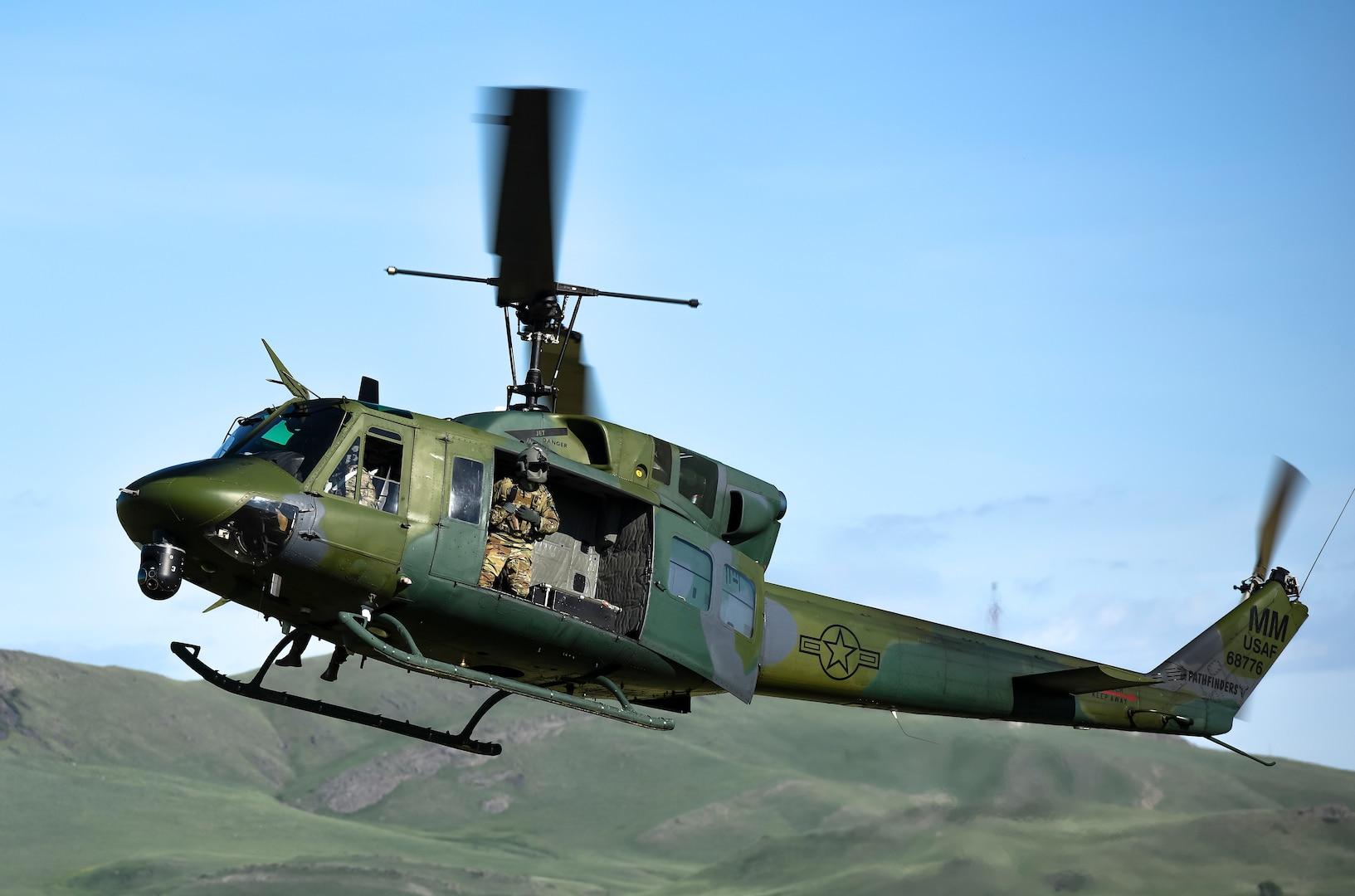 A UH-1N helicopter with the 40th Helicopter Squadron prepare to land during an integrated recapture and recovery exercise June 11, 2019, at an intercontinental ballistic missile launch facility near Simms, Mont.