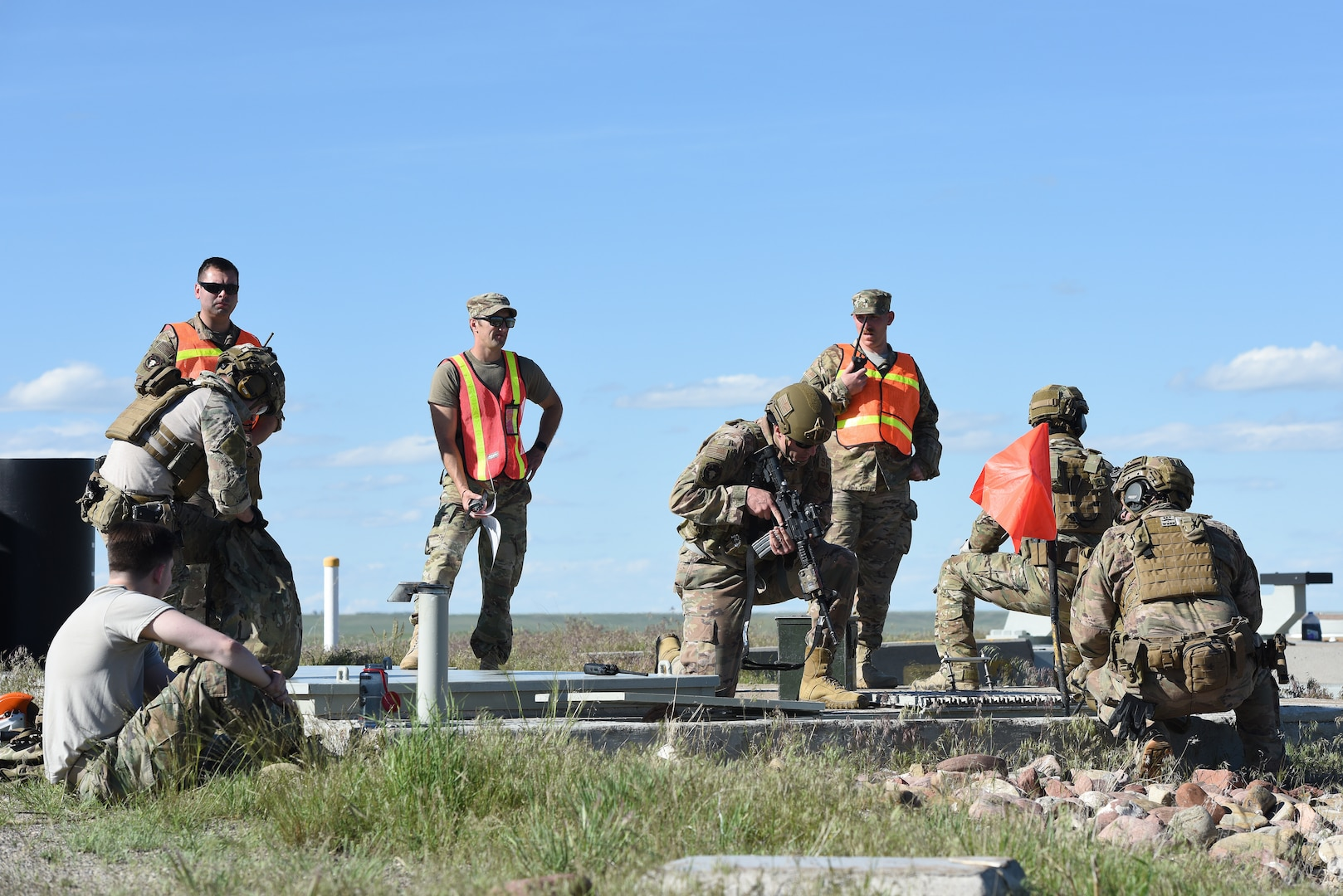 Airmen survey a launch facility integrated recapture and recovery exercise June 11, 2019, at an intercontinental ballistic missile launch facility near Simms, Mont.