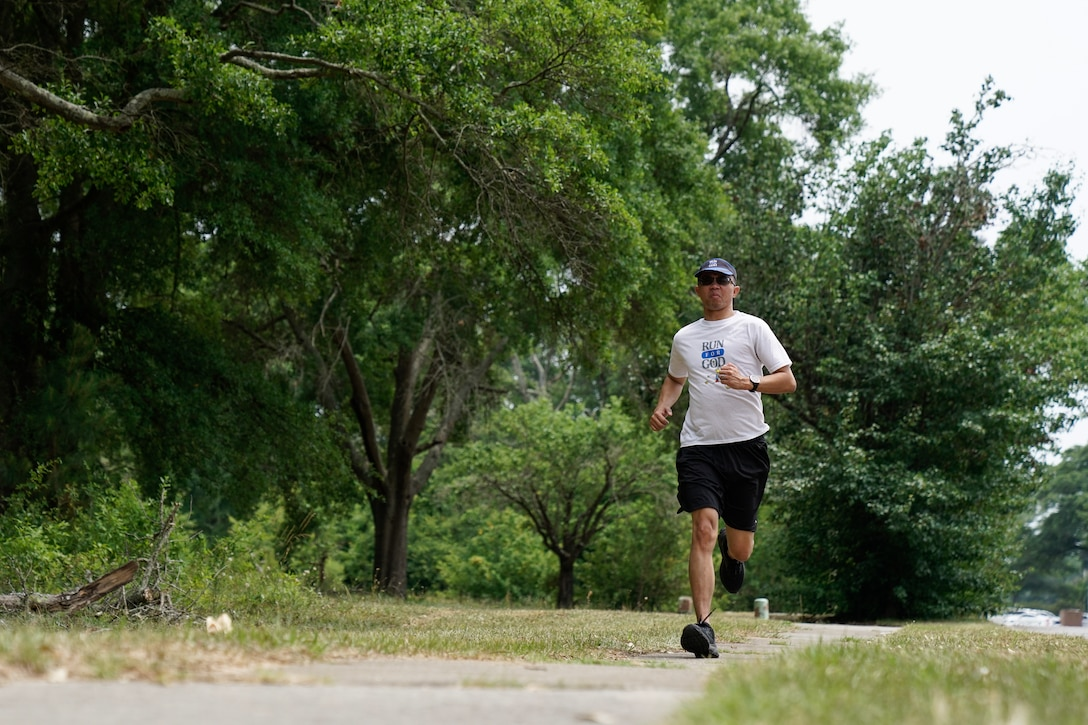 Master Sgt. Brandan Keel joined running groups to combat his depression after finding out his wife got pregnant by another man. One of the groups incorporated running training with spiritual education and has been a major factor in turning his life around.