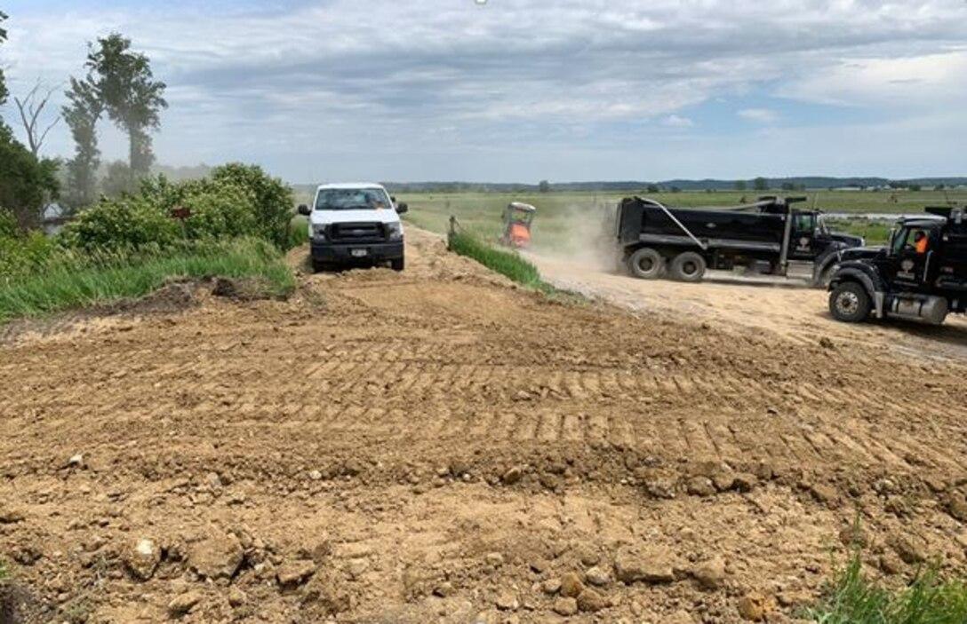 Breach closure on levee L594 near Bartlett, Iowa June 13, 2019.