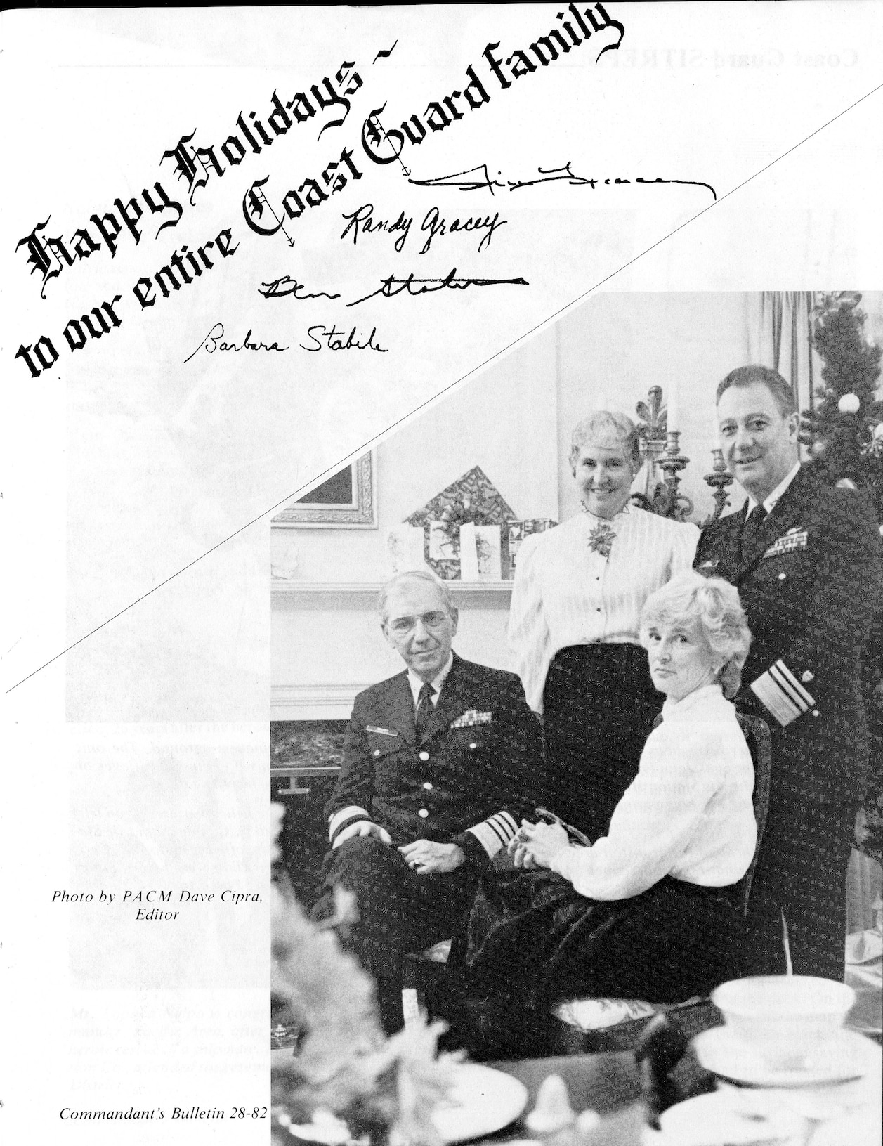 Admiral Gracey's 1982 Christmas Card to the Coast Guard Family posted in the Commandant's Bulletin 28-82.  Photo by PACM Dave Cipra, Editor