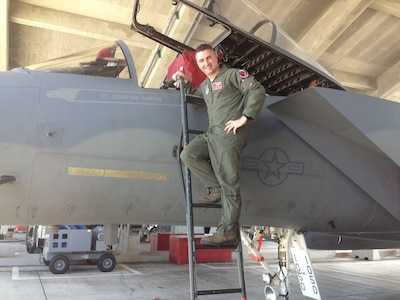 Maj. Jonathan Mahan, a C-17 Globemaster III pilot assigned to the 14th Airlift Squadron.