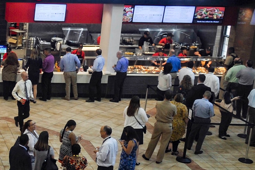 People line up for fast food.