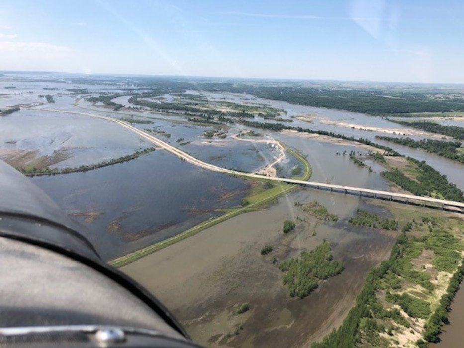 Aerial view of closed breach on levee L611-614 near Council Bluffs, Iowa June 13, 2019. (Photo courtesy of Offutt Aero Club).