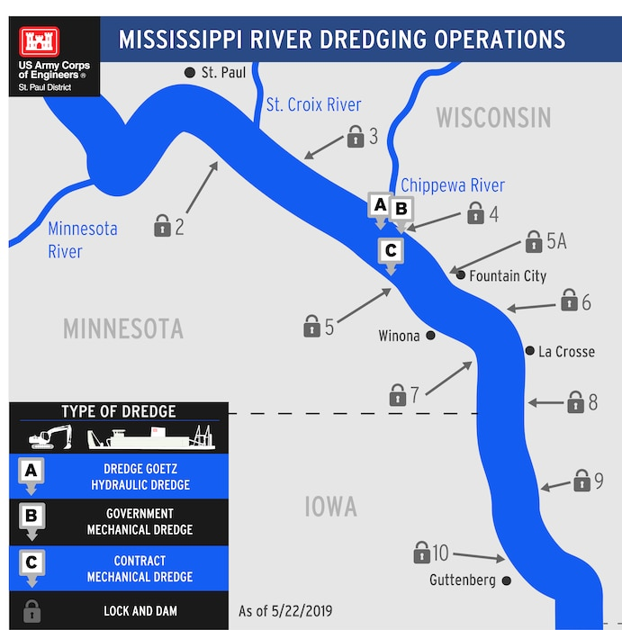 graphic showing dredging operations on river