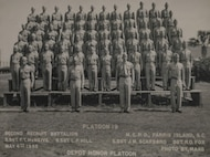 Platoon 19 of Parris Island Recruit Training graduating class of 1955. Marines pictured were Sgt. Maj. (Ret.) Francis T. McNeive's recruits from one of his cycles as a drill instructor on the island.