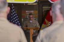 Maj. Gen. Daniel J. Lecce, the Staff Judge Advocate to the commandant of the Marine Corps speaks during the dedication ceremony for Maj. Michael Weston at the Marine Corps Recruit Depot Parris Island, S.C. June 11, 2019. Marines, Family, and friends gathered at the ceremony to pay Homage to the Marine by dedicating a court room to him.