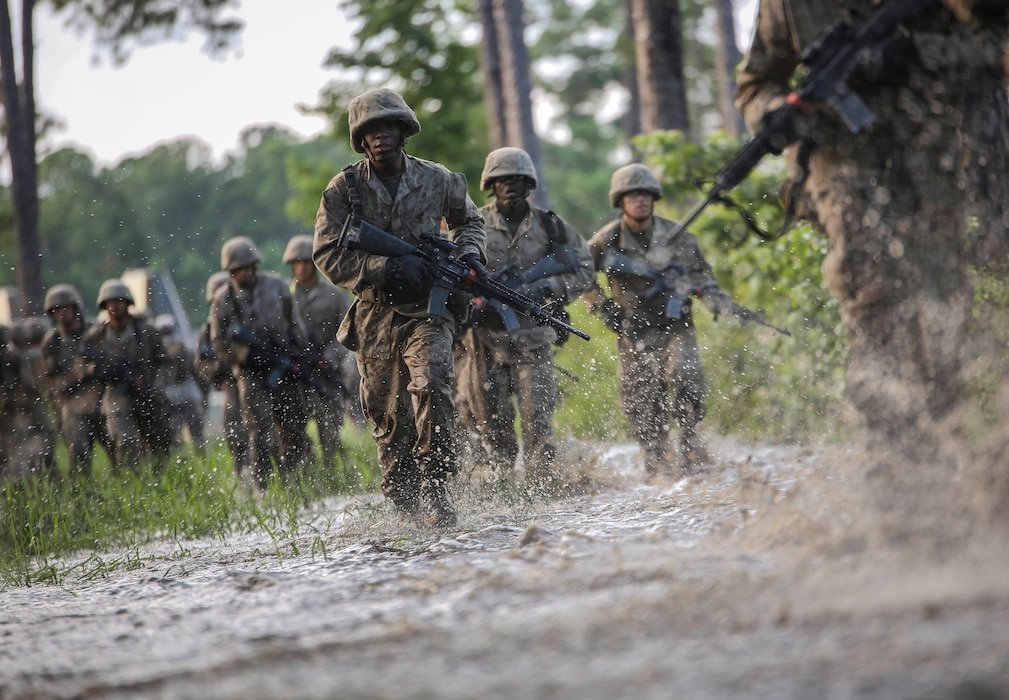 Recruits with Alpha Company participate in the Crucible on Parris Island, S.C. June 14, 2019. The Crucible is a 54-hour culminating event that requires recruits to work as a team and overcome challenges in order to earn the title United States Marine.