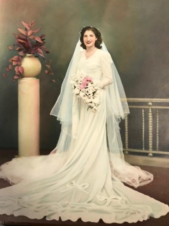 """Aida Bonsonto wears a wedding dress, circa 1946, made from a parachute, that was sent home to her by Army medic Gerald """"Jerry"""" Bonsonto who served with the 82nd Airborne Division during World War II."""