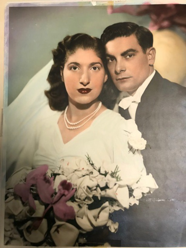 """Aida Bonsonto with her husband Gerald """"Jerry"""" Bonsonto pose for a photo, circa 1946. Bonsonto's wedding dress was made from a parachute, that was sent home to her by Army medic """"Jerry"""" Bonsonto who served with the 82nd Airborne Division during World War II."""