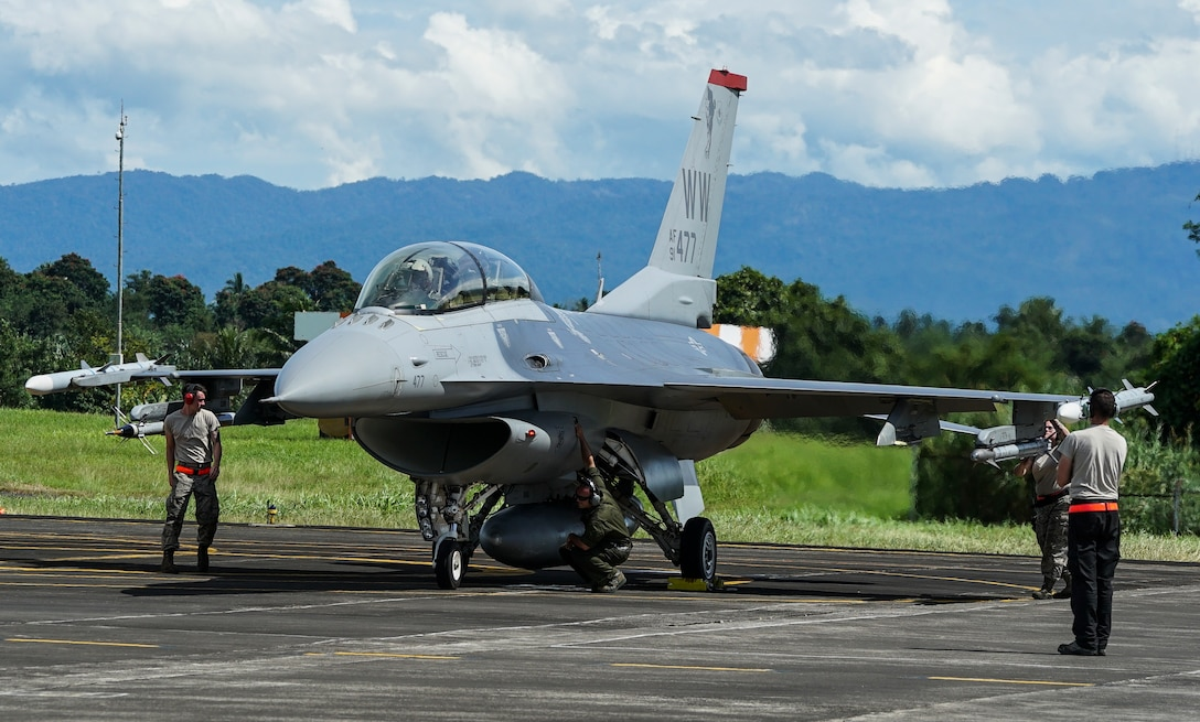 A U.S. Air Force F-16C Fighting Falcon assigned to the 13th Expeditionary Fighter Squadron, 35th Fighter Wing based out of Misawa Air Base, Japan, prepares to takeoff during exercise Cope West 18 (CW18) from Sam Ratulangi International Airport, Indonesia, March 12, 2018. CW18 is a Pacific Air Forces-sponsored, bilateral, tactical fighter aircraft exercise involving the U.S. and Indonesian air forces and is designed to advance interoperability and build upon already established partnerships between the air forces. (U.S. Air Force photo by Tech. Sgt. Richard Ebensberger)