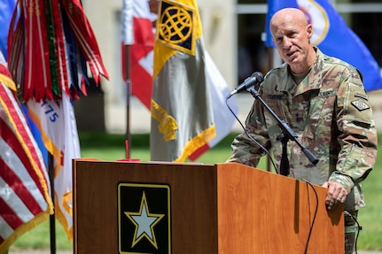 Maj. Gen. David C. Coburn, U.S. Army Financial Management Command commanding general, delivers an address during a ceremony celebrating both the 244th Army birthday and the 244th birthday of the Army Finance Corps at the Maj. Gen. Emmett J. Bean Federal Center in Indianapolis June 14, 2019. More than 100 Soldiers, Airmen and civilian employees from USAFMCOM and the Defense Finance and Accounting Service were on hand for the ceremony. (U.S. Army photo by Mark R. W. Orders-Woempner)