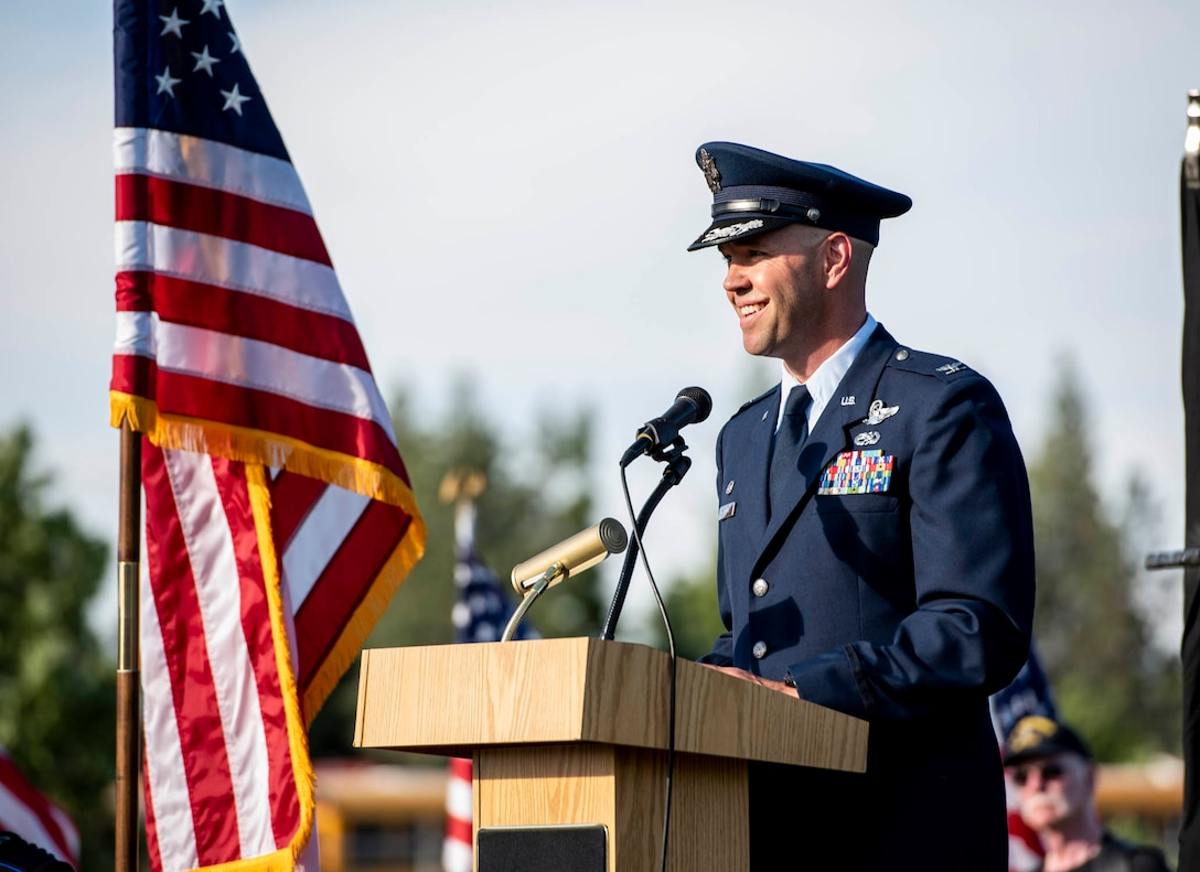 """Col. Larry Gardner, commander of the 141st Air Refueling Wing, addresses attendees during the opening ceremony for """"The Moving Wall,"""" a half-size replica of the Vietnam Memorial that stands in Washington D.C., June 13, 2019 in Medical Lake, Wash. The Moving Wall travels throughout the country to bring the experience of visiting the memorial to those who may not have the opportunity to travel to the nation's capital. The display will be in Medical Lake June 13-17 at the 200 block of South Prentis St. (U.S. Air National Guard photo by Staff Sgt. Rose M. Lust/Released)"""