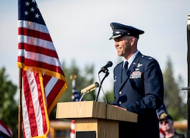 "Col. Larry Gardner, commander of the 141st Air Refueling Wing, addresses attendees during the opening ceremony for ""The Moving Wall,"" a half-size replica of the Vietnam Memorial that stands in Washington D.C., June 13, 2019 in Medical Lake, Wash. The Moving Wall travels throughout the country to bring the experience of visiting the memorial to those who may not have the opportunity to travel to the nation's capital. The display will be in Medical Lake June 13-17 at the 200 block of South Prentis St. (U.S. Air National Guard photo by Staff Sgt. Rose M. Lust/Released)"