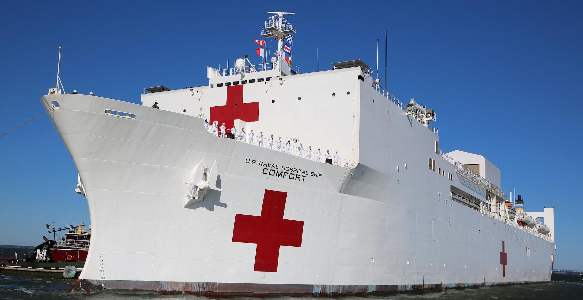 U.S. Navy Hospital Ship USNS Comfort (T-AH 20) gets underway from Naval Station Norfolk, June 14.