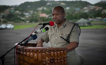 Mr. Colin John, Commissioner of Police (St. Vincent and the Grenadines), addresses the audience during the opening ceremony for phase two of Exercise TRADEWINDS