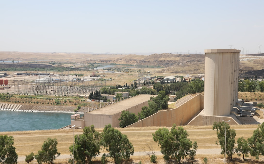 View of the Mosul Dam hydropower towers, located along the Tigris River outside Mosul City in Iraq.