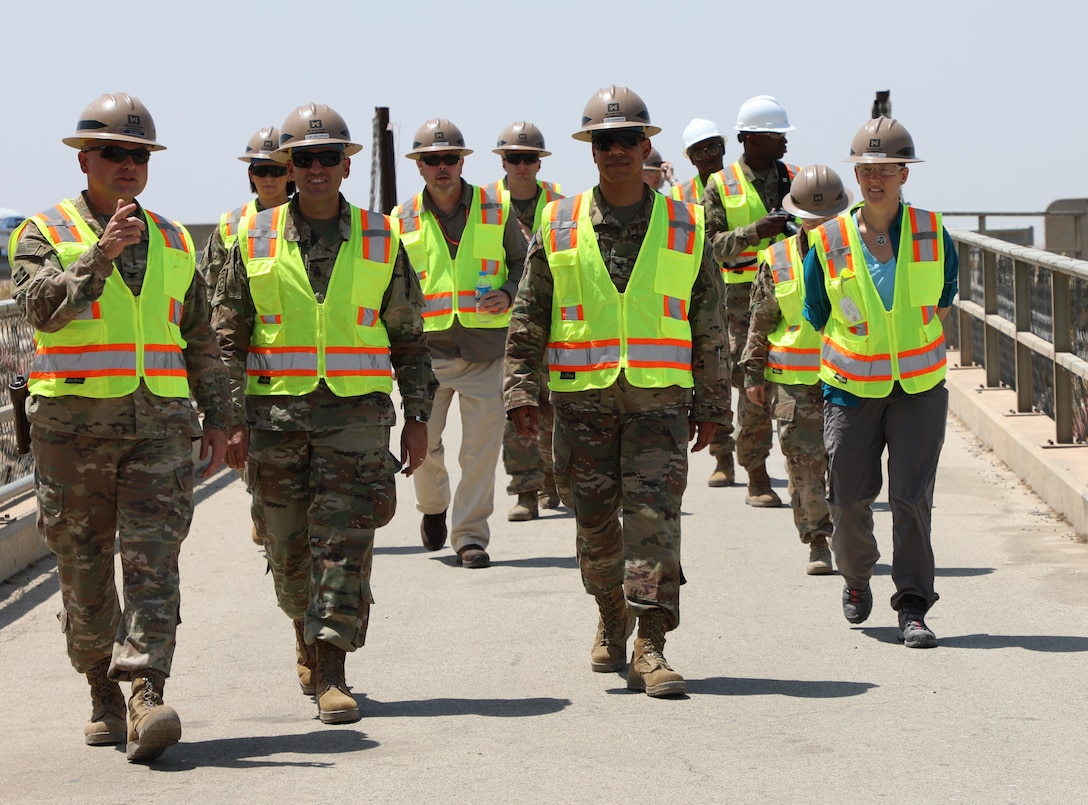 Members of the U.S. Corps of Engineers Transatlantic Division leadership team tour the Mosul Dam, outside the City of Mosul in Iraq, on June 14, 2019. USACE is part of a joint venture started in 2016 among the Iraq Ministry of Water Resources, the U.S. Government and Italian Company Trevi S.p.A, charged with stabilizing and repairing the infrastructure of the Mosul Dam. The dam is the largest in Iraq, and the fourth largest in the Middle East. It supplies water, hydropower, irrigation and flood control to the region.