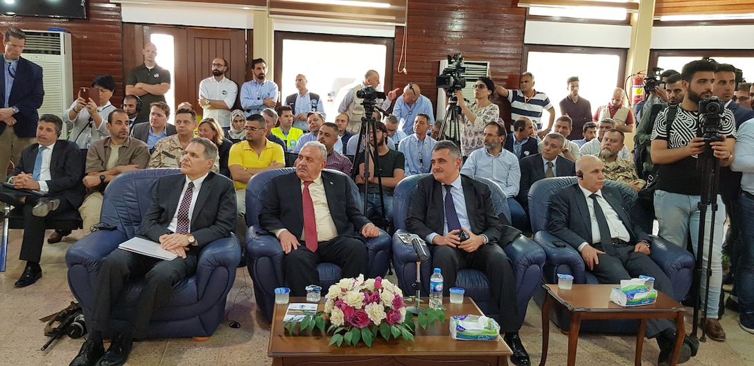 U.S. Ambassador to Iraq Matthew H. Tueller, Iraq Minister of Water Resources Jamal Abbas al-Adili, and Italian Ambassador to Iraq Bruno Pasquino, attend the closing ceremony commemorating the Mosul Dam Project June 15, 2019, in Mosul Iraq. The Mosul Dam Project was a 3-year partnership started in 2016 as a joint venture among the Iraq Ministry of Water Resources, the U.S. Army Corps of Engineers, and Italian Company Trevi S.p.A. in an effort to stabilize the infrastructure of the Mosul Dam. The Dam, which is the largest in Iraq, and the fourth largest in the Middle East, supplies water, hydropower, irrigation and flood control to the region.