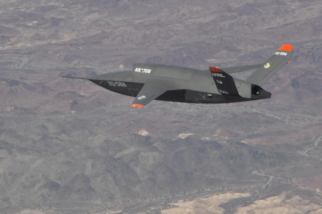 PHOTO DETAILS  /   DOWNLOAD HI-RES 1 of 1    The XQ-58A Valkyrie pictured during a second test flight June 11, 2019. (U.S. Air Force photo/2nd Lt. Randolph Abaya, 586 Flight Test Squadron.)