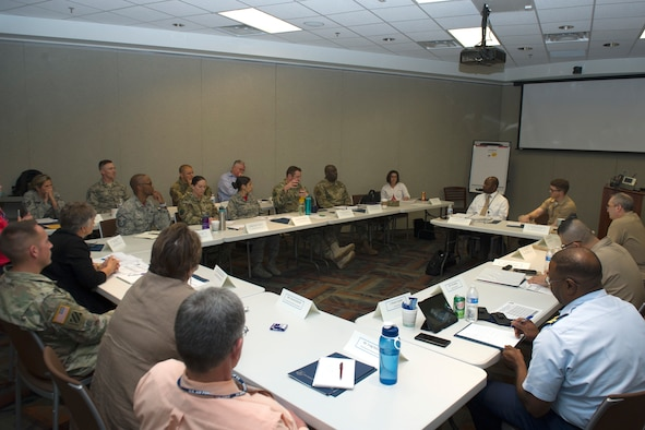 Joint service members and civilians discuss Individual Ready Reserve program topics during Day Two of the 2019 Joint IRR Conference, hosted by HQ Air Reserve Personnel Center, Buckley Air Force Base, Colorado, June 13-15, 2019.