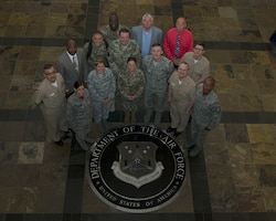 Joint service members and civilians pose for a group photo during Day Two of the 2019 Joint Individual Ready Reserve Conference, hosted by HQ Air Reserve Personnel Center, Buckley Air Force Base, Colorado, June 13-15, 2019.