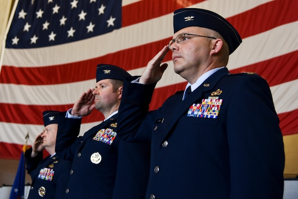 U.S. Air Force senior leaders with the 480th Intelligence, Surveillance, and Reconnaissance Wing salute during a change of command ceremony at Beale Air Force Base, California, June 10, 2019. Col. Andrew Souza, 548th ISR Group commander, took command from Col. Scott Nahrgang and assumed responsibility for more than 1,200 Airmen assigned to the Distributed Ground Station-2, part of the Air Force Distributed Common Ground System global intelligence network. (U.S. Air Force photo by Senior Airman Valentina Viglianco)
