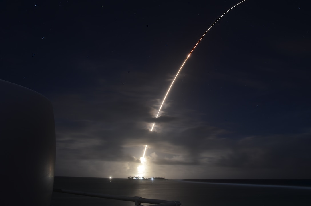 A threat-representative ICBM target launches from the Ronald Reagan Ballistic Missile Defense Test Site on Kwajalein Atoll in the Republic of the Marshall Islands on March 25. It was successfully intercepted by two long-range Ground-based Interceptors launched from Vandenberg Air Force Base, California, in the first salvo test of GBIs. (Courtesy photo/Missile Defense Agency)