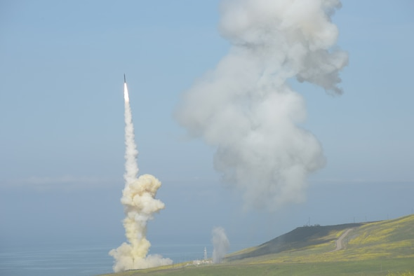 The 'trail' Ground-based Interceptor (GBI) launches from Vandenberg Air Force Base, California, March 25, in the first-ever salvo engagement test of a threat-representative Intercontinental Ballistic Missile target. The AEDC 10-foot vacuum chamber at Arnold Air Force Base provided mission simulation capability for interceptor and its kill vehicle sensors. The chamber is able to characterize sensor performance in a space environment against simulated operational scenarios.  (Courtesy photo/Missile Defense Agency)