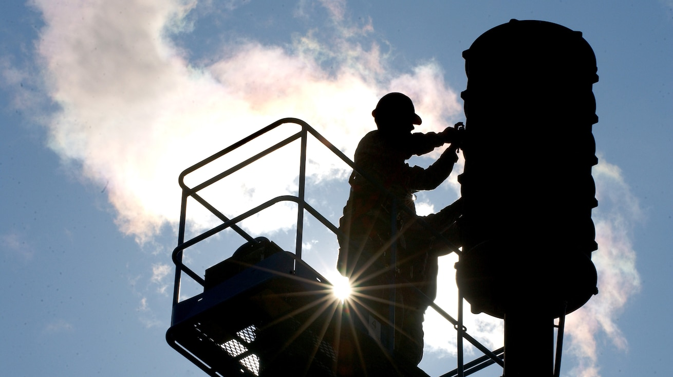 Senior Airman Lance Egan finishes replacing a blown speaker in a giant voice system Aug. 13, 2008, at Eielson Air Force Base, Alaska. The speaker was only producing 4/5 the normal power hindering the range it can be heard from. The radio maintenance shop conducts preventive maintenance inspections on every giant voice system to ensure it works properly when needed to inform base populace. He is assigned to the 354th Communication Squadron.  (U.S. Air Force photo by Airman 1st Class Jonathan Snyder)