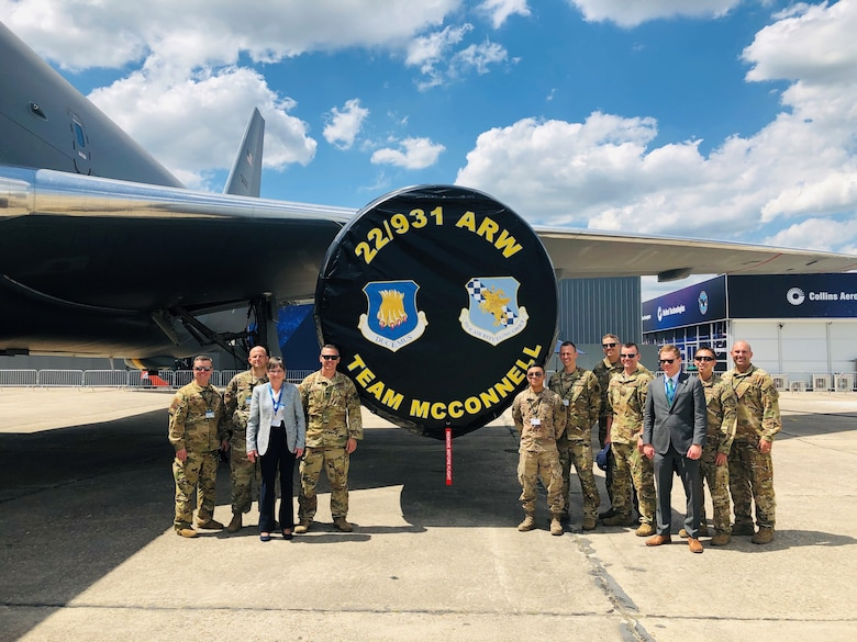 Team McConnell welcomed Kansas Governor Laura Kelly to the KC-46 static at the Paris Airshow on June 17, 2019. (Photo courtesy of 344th Air Refueling Squadron)