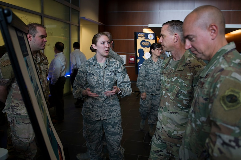 Staff Sgt. Trista Hoette, Air Force District of Washington protocol specialist, describes changes that were made to the visiting General Officers' Program during the first AFDW Innovation Summit at Joint Base Andrews, Md., June 12, 2019. (U.S. Air Force photo by Master Sgt. Michael B. Keller)