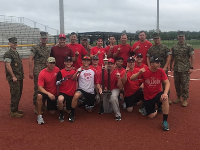 U.S. Marines with 2nd Maintenance Battalion, 2nd Marine Logistics Group (MLG), and 8th Engineer Support Battalion, 2nd MLG, participate in a softball competition at Camp Lejeune, North Carolina, June 12, 2019. The Big Six Softball Championship was the second of three events held by the MLG this year. (U.S. Marine Corps photo by courtesy asset)
