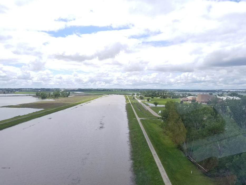 Image shows Levee R616-613 looking upstream on the Papillion Creek (west) from approximately the confluence of Big Papillion Creek with the Missouri River May 29, 2019.