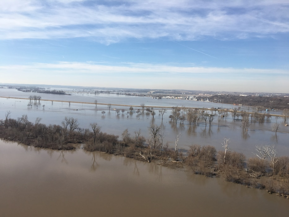 Image shows Levee R616-613 looking southwest towards Offutt AFB from approximately the Bellevue Toll Bridge March 22, 2019.