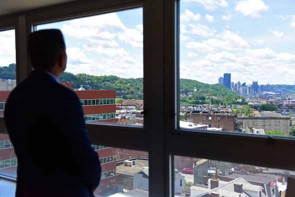 Lt. Gen. David Thompson, Air Force Space Command vice commander, observes downtown Pittsburgh, June 14, 2019.