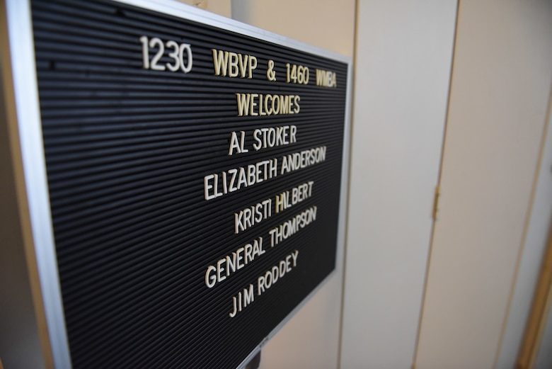 A welcome sign is posted in honor of Lt. Gen. David Thompson, Air Force Space Command vice commander, and Chief of Staff of the Air Force Civic Leader Kristi Hilbert at a radio station in Beaver Falls, Pennsylvania, June 13, 2019.