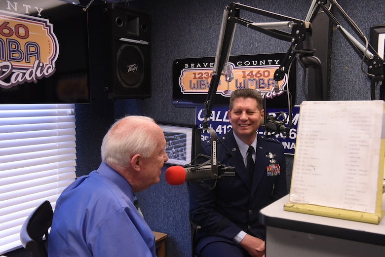 Jim Roddey of Beaver County Radio interviews Lt. Gen. David Thompson, Air Force Space Command vice commander, on his radio show in Beaver Falls, Pennsylvania, June 13, 2019.