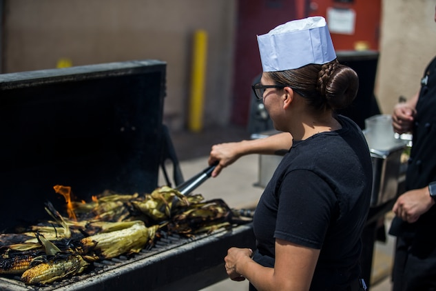 U.S. Marines with Headquarters and Headquarters Squadron, Marine Corps Air Station (MCAS) Yuma, Food Services, compete in the 2019 MCAS Yuma Chef of the Quarter challenge on MCAS Yuma, Ariz., May 22, 2019. The MCAS Yuma Chef of the Quarter challenge is an in-house competition held to decide which Food Service Marines will compete in the Chef of the Quarter competition held in Camp Pendleton, California. (U.S. Marine Corps photo by Pfc. John Hall)
