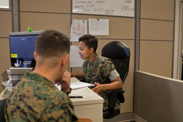 U.S. Marine Corps Lance Cpl. Hailey M. Lark, an administrative specialist with Installation Personnel Admin Center (IPAC), Headquarters and Headquarters Squadron Marine Corps Air Station (MCAS) Yuma, conducts his administrative duties at the IPAC on MCAS Yuma Ariz., May 28, 2019. The IPACs' mission is to provide professional, quality personnel administration services to all Marines and family members assigned to MCAS Yuma. Ensuring every Marine is administratively ready for worldwide assignment. (U.S. Marine Corps photo by Lance Cpl. Joel Soriano)