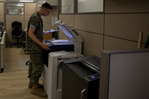 U.S. Marine Corps Lance Cpl. Matthew E. Rivera, an administrative specialist with Installation Personnel Admin Center (IPAC), Headquarters and Headquarters Squadron Marine Corps Air Station (MCAS) Yuma, conducts his administrative duties at the IPAC on MCAS Yuma Ariz., May 28, 2019. The IPACs' mission is to provide professional, quality personnel administration services to all Marines and family members assigned to MCAS Yuma. Ensuring every Marine is administratively ready for worldwide assignment. (U.S. Marine Corps photo by Lance Cpl. Joel Soriano)