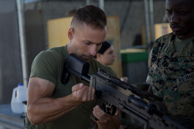 U.S. Marines with Marine Air Control Squadron (MACS) 1 conduct Crew-Served Weapons Handling Training at Marine Corps Air Station Yuma Ariz., May 29, 2019. The purpose of this training is to ensure that Marines are familiar with the handling and operations of the M240B machine gun. (U.S. Marine Corps photo by Lance Cpl Joel Soriano)