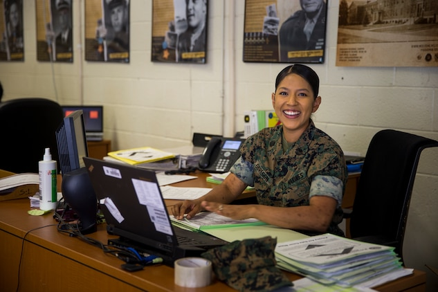 U.S. Marine Corps Staff Sgt. Johanny Obregon, the Operations (S-3) Chief with Headquarters and Headquarters Squadron Marine Corps Air Station (MCAS) Yuma, conducts her daily routine duties at MCAS Yuma, Ariz., May 31 2019. In the Marine Corps, S-3 Marines are responsible for the day-to-day training operations that take place on base. (U.S. Marine Corps photo by Pfc. John Hall)