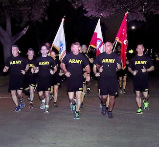 Cadences echoed across Fort Sam Houston as 2,000 Soldiers celebrated the 244th Army Birthday with an Army run, early June 13. Joining the Soldiers in a 3 1/2-mile run were Airmen from throughout JBSA, as well as civilians, friends and family members. The run is one of several events the Army units participated in to celebrate the Army's birthday on June 14.