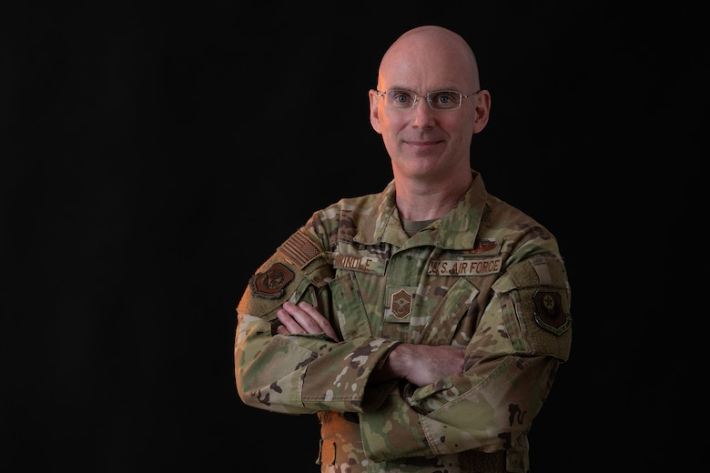 Chief Master Sgt. Brian A. Brindle, 137th Special Operations Wing command chief master sergeant, poses for a portrait taken at Will Rogers Air National Guard Base in Oklahoma City, June 11, 2019. (U.S. Air National Guard photo by Senior Master Sgt. Andrew LaMoreaux)