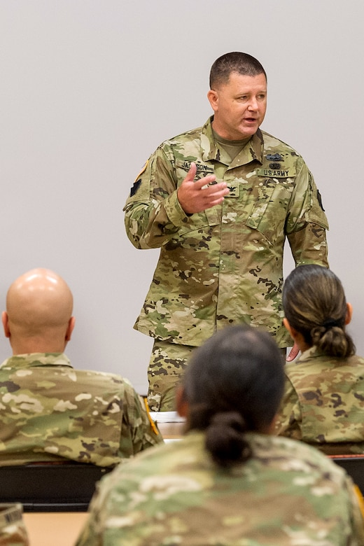 Col. Mark Jackson, director of the Army Reserve's 469th Financial Management Support Center in New Orleans, draws from his own experience as he shares key leadership principles at a Company Leader Development Course during the first day of Diamond Saber at Fort McCoy, Wisc., June 18, 2019. Diamond Saber, the Army's only major financial management exercise, is designed to provide realistic technical training to regular Army, Army Reserve and Army National Guard FM units through interactive scenarios and transactions based upon current policy in a collective environment. (U.S. Army photo by Russell Gamache)