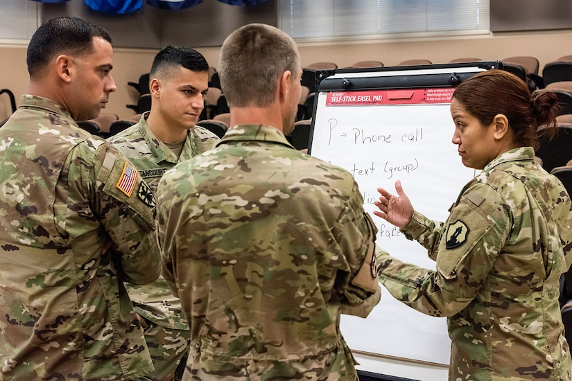 Soldiers from various units have a discussion during the first day of Diamond Saber at Fort McCoy, Wisc., June 18, 2019. Diamond Saber, the Army's only major financial management exercise, is designed to provide realistic technical training to regular Army, Army Reserve and Army National Guard FM units through interactive scenarios and transactions based upon current policy in a collective environment. (U.S. Army photo by Russell Gamache)