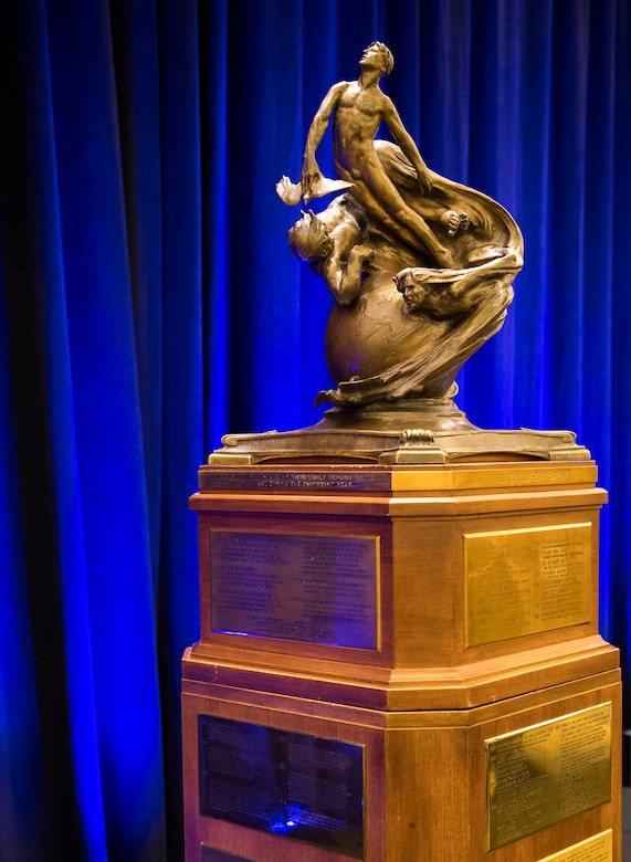 "The Collier Trophy was established in 1911 by Robert J. Collier, publisher and early President of the Aero Club of America, Washington, June 13, 2019. The Collier Trophy is awarded annually by the U.S. Aeronautic Association ""for the greatest achievement in aeronautics or astronautics in America, with respect to improving the performance, efficiency, and safety of air or space vehicles, the value of which has been thoroughly demonstrated by actual use during the preceding year.""(U.S. Air Force photo by Christopher Dyer)"