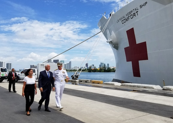 Vice President Mike Pence, second lady Karen Pence, and Adm. Craig S. Faller, commander, U.S. Southern Command, visit the hospital ship USNS Comfort (T-AH 20).