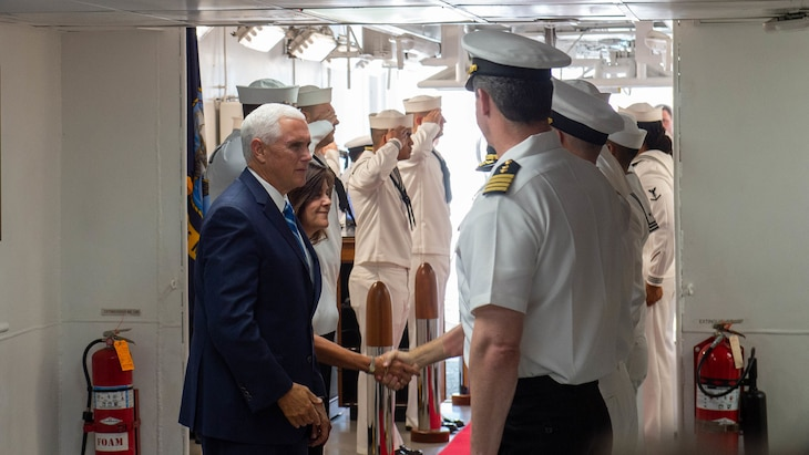 Vice President Mike Pence and second lady Karen Pence tour the hospital ship USNS Comfort (T-AH 20).